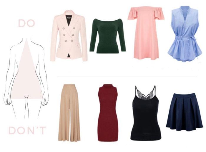 Mẫu quần áo thích hoặc tránh cho hình thái A