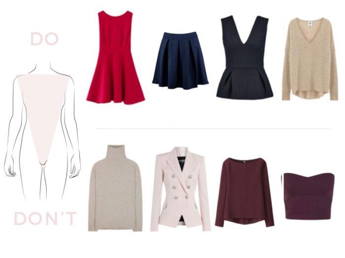 Mẫu quần áo thích hoặc tránh cho hình thái V